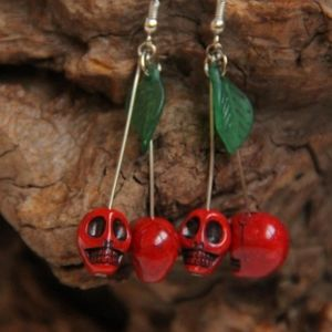 HP!! NWT Punk Boho Skull Cherry Earrings!